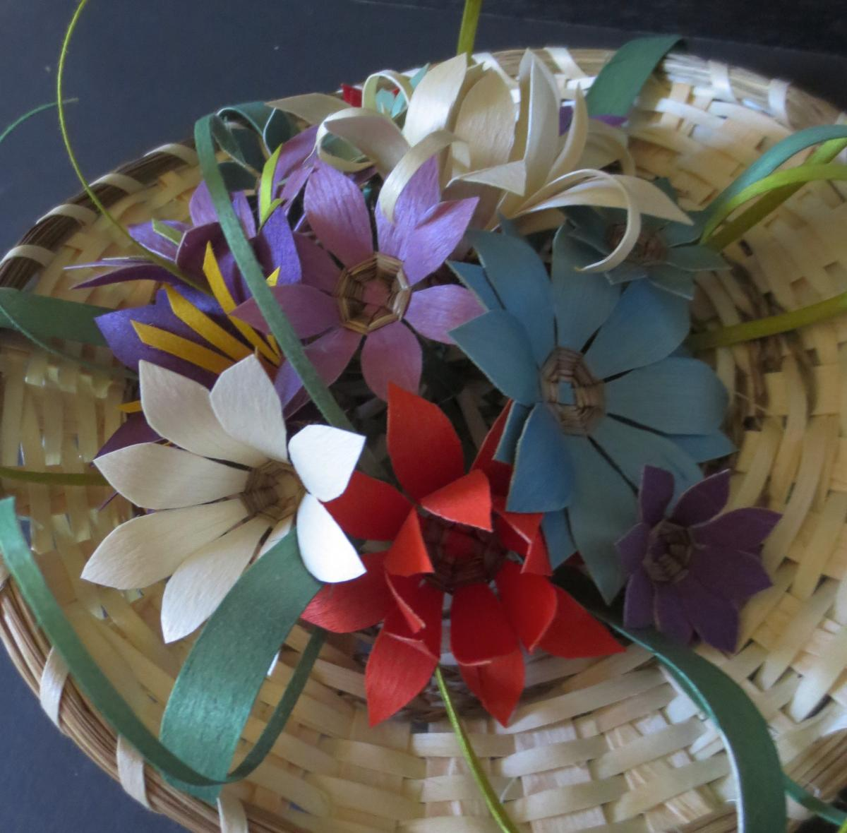 Traditional Flower Basket With 13 Flowers American Native Arts
