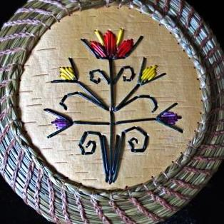Quill floral design coiled sweetgrass basket: Paul St John, Mohawk