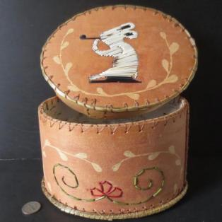 Porcupine quill & birch bark box; Paul St John, Mohawk