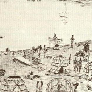 "An Indian Campsite At The ""Rips"" On Cobbossee Stream, Maine C/1750"