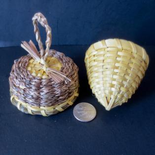 Yellow Acorn Basket - open