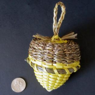 Yellow Acorn Basket - dime for scale