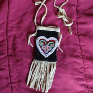 Beaded heart medicine pouch
