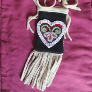 Beaded heart medicine pouch - front
