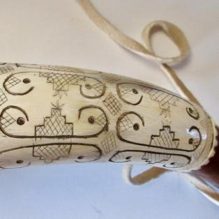 Powder Horn, Penobscot style - close up of design