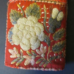 Cheroot/cigar case Moose Hair Embroidered - Close up Side A lower