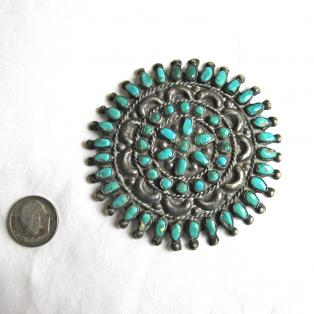 Vintage Zuni turquoise cluster pin w/dime